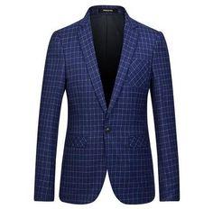 Spring/Autumn Mens Fashion Casual Plaid Pattern Blazer Men One Button Slim Fit Suit Jacket Dress Blazers Men Suit Coat M-3XL