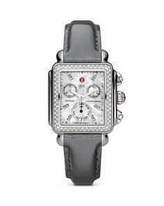 Michele Deco Watch with Diamond Bezel and Patent Grey Leather Strap at London Jewelers!