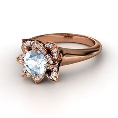 Round Aquamarine 14K Rose Gold Ring with Diamond & Diamond  | Lotus Ring | Gemvara  WISH RING!!!