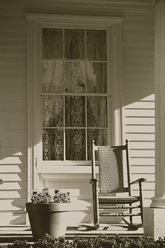 farmhouse with rocking chair on porch - Google Search