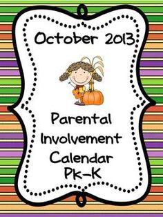 Parental  Involvement  (#Homework) Calendar – October 2013 PK/K By The Fun Factory