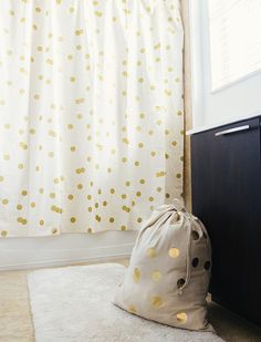Who Said Shower Curtains Cant Be Chic And Modern This Beautiful Design Boasts Golden Polka Dots Over A Pale Cream Backdrop Ensuring That Your Bathroom