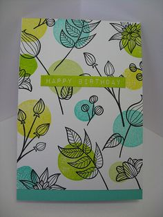 I stamped Altenew's Striped Florals onto white card and then overstamped various circles in a palette of bright, frest inks. Altenew Label Love sentiment.