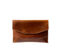 Cluth No. 3 in deep tan from Arc of a Diver #clutch #leather #purse