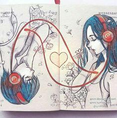 Music is life drawing heart 22 Ideas for 2019 Drawing Artwork, Disney Drawings, Drawings, Manga Drawing, Manga Illustration, Art, Funny Art, Anime Drawings, Art Pages