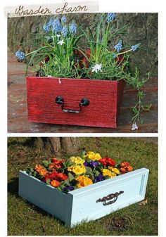 Reuse Old Drawers for Planters, for my future garden :) Outdoor Projects, Garden Projects, Old Drawers, Dresser Drawers, Dressers, Painted Drawers, Flower Planters, Garden Planters, Fall Planters