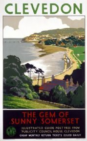 Clevedon The gem of sunny Somerset by Great Western Railway Vintage Railway Travel poster by Cusden This is truly an outstanding quality poster It is Posters Uk, Train Posters, Railway Posters, Poster Ads, Poster Prints, Somerset England, Somerset West, North Somerset, British Travel