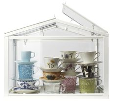 The SOCKER greenhouse, filled with a mix of teacups old and new, makes a sweet decoration at a bridal tea or brunch. Small Greenhouse, Greenhouse Ideas, Tea Cup Display, Ikea Wedding, Deco Originale, Good Environment, Floor Design, Home Organization, Organizing Ideas