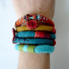Bracelet - felted yarn, crochet and embroidered embellishments