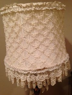 """US $125.00 Used in Collectibles, Lamps, Lighting, Shades 14"""" diameter lace diamonds over tucked/pleated  fabric"""
