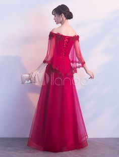 Prom Dresses Long Burgundy Off The Shoulder Prom Dress Lace Applique Beading Poncho Cape Occasion Dress Glamorous Dresses, Stylish Dresses, Simple Dresses, Fashion Dresses, Gaun Dress, Dress Pesta, Little Girl Gowns, Gowns For Girls, Red Formal Gown