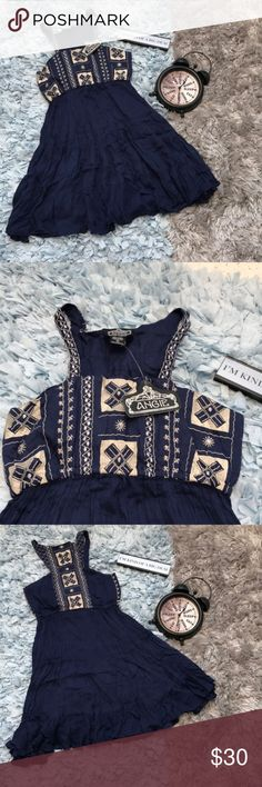 NWT Angie Navy Blue Embroidered Dress NWT still attached never been worn. It is a light and flowy dress perfect for the spring and summer time! The dress is 100% Rayon and falls between the mid thigh to knee region. The dress has plenty of stretch in the bust region if needed. Please feel free to offer or bundle Angie Dresses