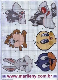Baby looney tunes x-stitch Cross Stitch Fabric, Cross Stitch Baby, Cross Stitching, Plastic Canvas Crafts, Plastic Canvas Patterns, Knitting Charts, Baby Knitting, Cross Stitch Designs, Cross Stitch Patterns