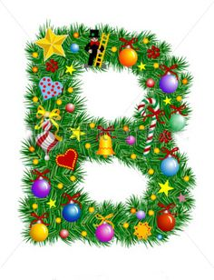 Letter B Christmas Decoration Alphabet stockvector (rechtenvrij) 6991006 Holiday Fonts, Christmas Fonts, Christmas Printables, Christmas Pictures, Christmas Art, Christmas Decorations, Alphabet Letters Design, Alphabet And Numbers, Monogramm Alphabet