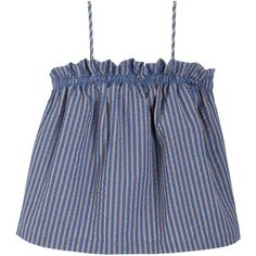 Luisa Et La Luna Striped Laia Top (1.885 DKK) ❤ liked on Polyvore featuring tops, shirts, tank tops, crop top, cropped cami, cotton camisole, vertical stripe shirts, cotton tank tops and ruffle shirt