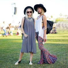 Fedoras top off all types of outfits at Coachella, whether it be a breezy shift dress or paisley-print wide-leg pants.