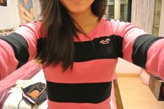 Light Pink and Black stripped tee at Hollister
