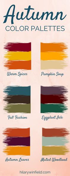 These six autumn color palettes are the perfect inspiration for seasonal home decor, brand colors, or fall-inspired artwork! These six autumn color palettes are the perfect inspiration for seasonal home decor, brand colors, or fall-inspired artwork! Deep Autumn Color Palette, Colour Pallette, Colour Schemes, Color Combos, Best Color Combinations, Autumn Inspiration, Color Inspiration, Wedding Inspiration, Wedding Ideas