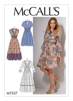 McCall's Misses' Banded, Gathered-Waist Dresses 7537