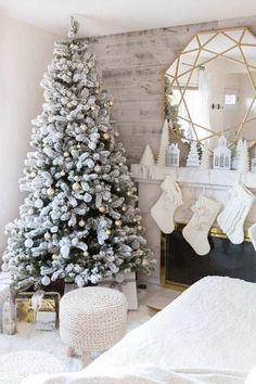 White Flocked Christmas Tree And Fireplace Mantle Winter White And Neutral Christmas Decorating Inspiration With A Modern Farmhouse Vignette.