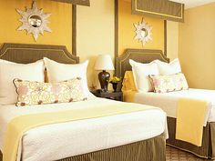 Having a yellow bedroom especially at Winter time is something that we will surely appreciate. Here are some yellow bedroom ideas you must checkout. Villas, Guest Bedrooms, Yellow Bedrooms, Mellow Yellow, Dream Bedroom, Master Bedroom, Beautiful Bedrooms, Coastal Living, Decoration