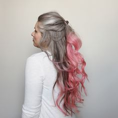 Long natural grey hair with pink Going Gray, Grow Out, Fine Wine, Grey Hair, Silver Hair, Pink Grey, Hair Color, Dreadlocks, Long Hair Styles