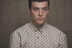 polkadot shirt with wood buttons