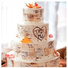 If I was having a fall wedding this would be my cake. Designed to resemble a birch tree, the cake had sugar-made leaves and Teresas and Marks initials carved on the side. Birch Tree Wedding, Wedding Cake Rustic, Fall Wedding Cakes, Wedding Ideas, Wedding Trends, Rustic Weddings, Woodsy Cake, Autumn Weddings, Budget Wedding