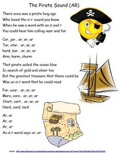 -ar Poem Great introduction for a pirate -ar word search/scavenger hunt Preschool Pirate Theme, Pirate Activities, Preschool Songs, Phonics Activities, Pirate Songs For Kids, Kindergarten Phonics, Literacy Worksheets, Preschool Winter, Class Activities