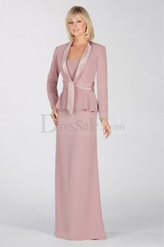 Elegant Mother of the Bride Dress Features Striking Copped Jacket with Sash