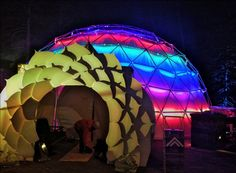 The experience we created was a 44′ geodesic dome completely covered in addressable RGB LEDs a with a beautiful CNC cut lotus gate creating the entrance ...