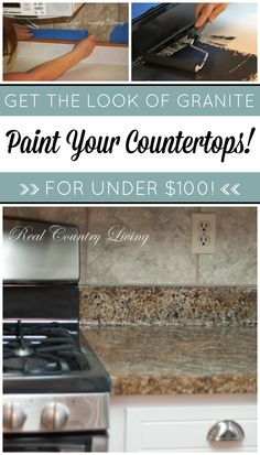 Shhh… it's not granite, it's PAINT! Affordable and easy DIY Kitchen Countertop Remodel. Giani Granite countertop paint kits transform your outdated … Giani Granite, Cost Of Granite Countertops, Outdoor Kitchen Countertops, Kitchen Countertop Materials, Diy Counters, Refinish Countertops, Granite Kitchen, Modern Grey Kitchen, Grey Kitchen Designs