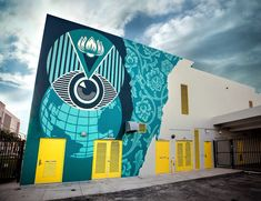"""Shepard Fairey, """"Earth on Eye Alert"""" for The RAW Project at Eneida M. Hartner Elementary School in Miami, FL, USA, 2019 Shepard Fairy, Shepard Fairey Obey, Andre The Giant, Mural Painting, Street Artists, Rhode Island, School Projects, Elementary Schools, Miami"""