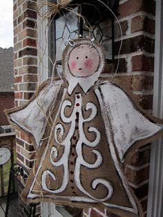 #Christmas Angel Burlap Door Hanger