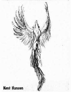 Awesome Grey Flying Phoenix Tattoo Design