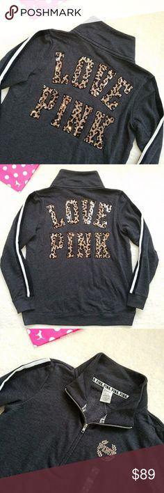 Victoria's Secret PINK Bling Leopard Half Zip Rare Cheetah Bling High Low Boyfriend Half Zip Sweatshirt by Victorias Secret PINK  Size medium   Brand new without tag nwot     Stunning charcoal pullover with a cute high low hemline   Leopard / cheetah sequin bling LOVE PINK logo  Triple stripe sleeves Shiny logo on chest Beyond beautiful   You'll feel like a princess ;)     Perfect with leggings, gorgeous with bling jeans like Miss Mes, or stay comfy in joggers like campus sweats or boyfriend…