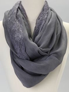 Gray Lace Infinity Scarf... Looooooooooove it