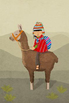 boy & his llama by Marloes de Vries Alpacas, Illustration Mignonne, Children's Book Illustration, Llama Peruana, Art Péruvien, Llama Decor, Llama Arts, Peruvian Art, Latino Art