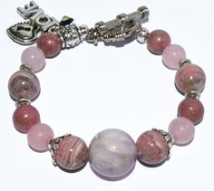 The Power of Love...Heart Chakra Bracelet with Turkish Evil Eye Charm and Genuine Gemstones... by iyildiz, $32.00