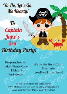 PIRATE INVITATION - Printable - Birthday Party - Customizable - Banners, Cupcake Toppers & more also available