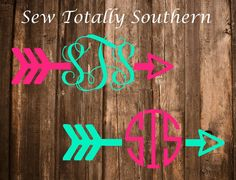 Arrow Monogram Decal- Monogram, decals, arrows by SewTotallySouthern on Etsy Cricut Monogram, Monogram Decal, Monogram Design, Monogram Letters, Anchor Monogram, Silhouette Cameo Vinyl, Silhouette Cameo Projects, Homemade Shirts, School Spirit Shirts