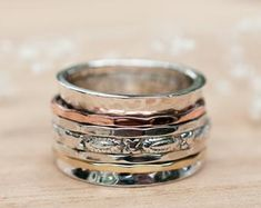 Boho Rings, Women's Rings, Argent Sterling, Sterling Silver, Meditation Rings, Labradorite Ring, Spinner Rings, Statement Rings, Natural Gemstones