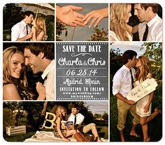 """""""6-Photo CollageChalk Save the Date Magnet"""""""