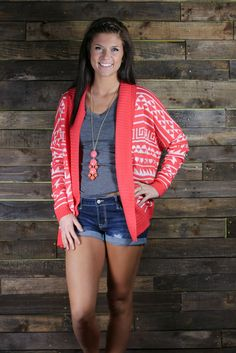 Spring Time Aztec Cardigan- Coral from UOI Boutique. Saved to Things I want as gifts. Bad Girl Look, Spring Summer Fashion, Spring Outfits, The Cardigans, Aztec Cardigan, Black Cardigan, Swagg, A Boutique, Passion For Fashion