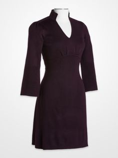 Jessica Howard Eggplant Knit Dress $39.99 #purple #plum #bellsleeve #pleated #sweater #fall #womens #fashion