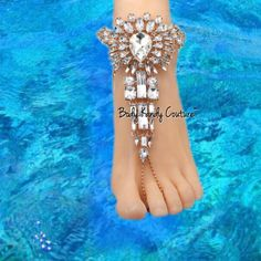 Coco Crystal BareFoot Sandals-Barefoot Sandals-Body Kandy Couture. Crystal Barefoot Sandals Beach Wedding Bohemian foot jewelry gold Swarovski crystal Barefoot Wedding Shoes Perfect for Destination Weddings and Bohemian Destination Weddings Feet Jewelry Adjustable Extender Chain With Lobster Clasp Made Upon Order Please Allow Up to Two Weeks Production Time