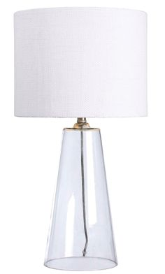 Boda Table Lamp - Geometric yet warm, the clear base and crisp White shade of Boda are ideal for a modern room. This design effortlessly brightens while adding a touch of contemporary style.
