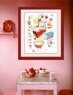 Strawberry pie recipe 12X16 Poster Kitchen art Food print Cake illustration drawing wall hanging French kitchen decor $45