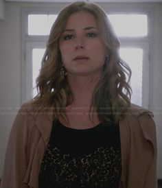 Emily's black lace panel dress and silk coat on Revenge.  Outfit Details: http://wornontv.net/32330/ #Revenge