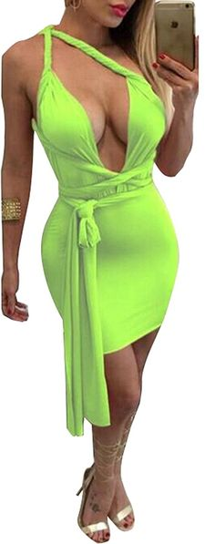 Women Sexy Multi Wear Cut Out Bodycon Bandage Tank Clubwear Party Mini Dress *** See this great product. (This is an affiliate link and I receive a commission for the sales)